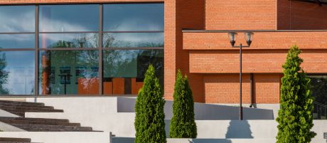 Theater Ugala in Viljandi, Estonia. Used materials: Terca ceramic bricks Red Smooth and customised designed bricks, Terca ceramic brick slips and corners Red Smooth.